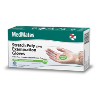 MedMates Stretch Poly CPE Exam Gloves-2000/Case